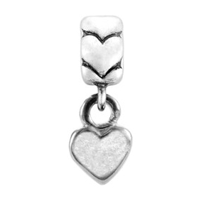 Bacio Italian made sterling silver Small Heart dangle bead. Compatible with other bead brands.