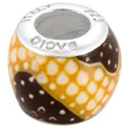 Bacio Italian made sterling silver enamelled Africa confetti bead with cubic zirconia.