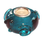Bacio Italian made Murano glass and sterling silver small slide bead.