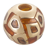 Bacio Italian made gold-plated sterling silver enamelled window Cathedral slide bead.